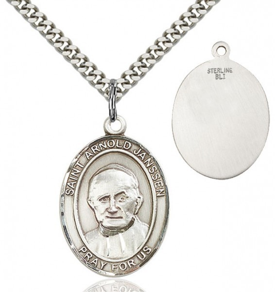 "St. Arnold Janssen Medal, Sterling Silver, Large - 24"" Sterling Silver Chain + Clasp"