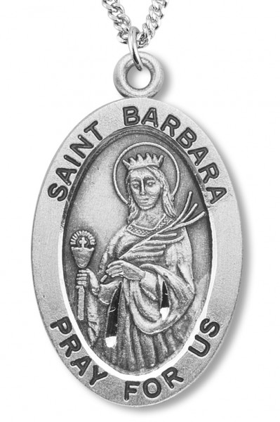 "Women's St. Barbara Necklace Oval Sterling Silver with Chain Options - 18"" 2.1mm Rhodium Plate Chain + Clasp"