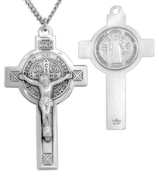 "Large Men's Sterling Silver Saint Benedict Crucifix Necklace with Chain Options - 24"" 2.4mm Rhodium Plate Endless Chain"
