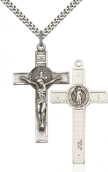 "St. Benedict Crucifix Pendant, Sterling Silver - 24"" 2.2mm Sterling Silver Chain + Clasp"
