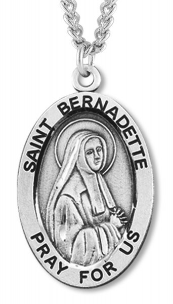 "Women's St. Bernadette Necklace Oval Sterling Silver with Chain Options - 20"" 1.8mm Sterling Silver Chain + Clasp"
