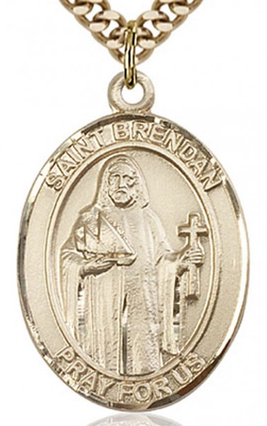 "St. Brendan the Navigator Medal, Gold Filled, Large - 24"" 2.4mm Gold Plated Endless Chain"