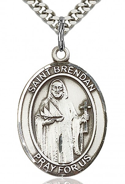 "St. Brendan the Navigator Medal, Sterling Silver, Large - 24"" 2.2mm Sterling Silver Chain + Clasp"