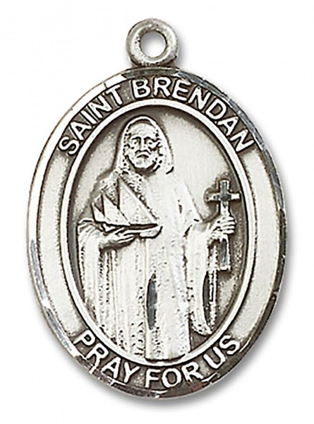 St. Brendan the Navigator Medal, Sterling Silver, Large - No Chain