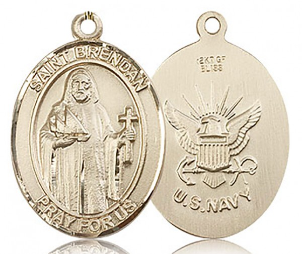 St. Brendan the Navigator/ Navy Medal, Gold Filled, Large - No Chain