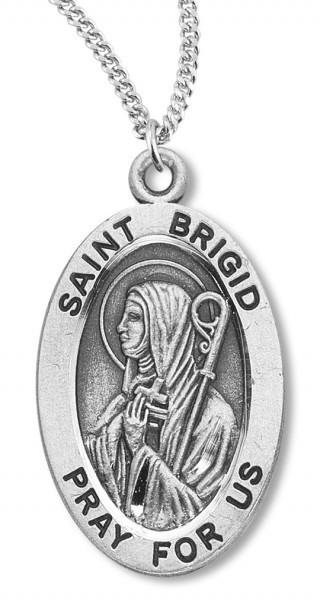 "Women's St. Brigid Necklace Oval Sterling Silver with Chain Options - 18"" 1.8mm Sterling Silver Chain + Clasp"