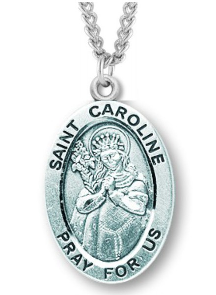 "Women's St. Caroline Necklace Oval Sterling Silver with Chain Options - 20"" 2.25mm Rhodium Plated Chain with Clasp"