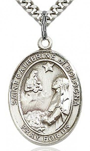 "St. Catherine of Bologna Medal, Sterling Silver, Large - 24"" 2.4mm Rhodium Plate Endless Chain"