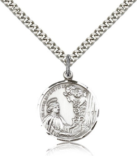 "St. Cecilia Medal - 24"" 2.4mm Rhodium Plate Chain + Clasp"