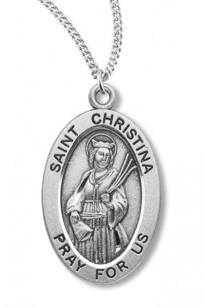 "Women's St. Christina Necklace Oval Sterling Silver with Chain Options - 20"" 1.8mm Sterling Silver Chain + Clasp"