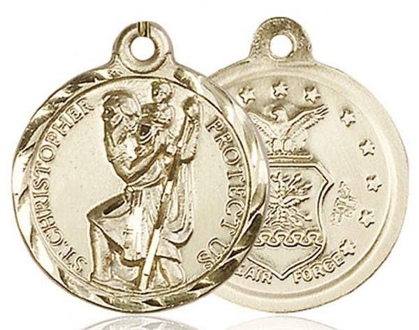 St. Christopher Air Force Medal, Gold Filled - No Chain