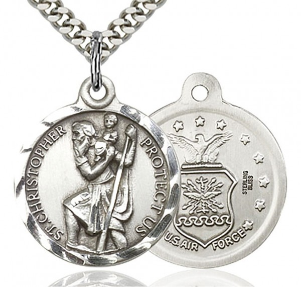 "St. Christopher Air Force Medal, Sterling Silver - 24"" 2.4mm Rhodium Plate Endless Chain"