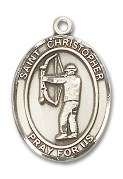 St. Christopher Archery Medal, Sterling Silver, Large - No Chain