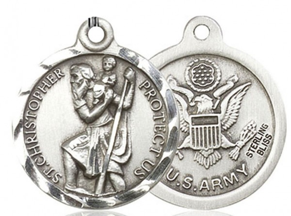 St. Christopher Army Medal, Sterling Silver - No Chain