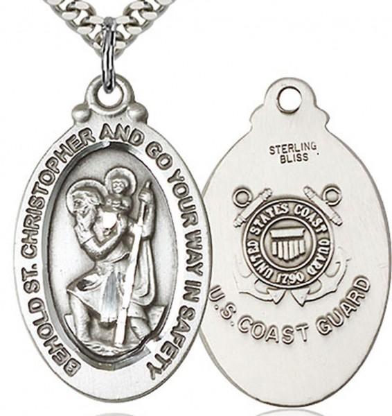 "St. Christopher Coast Guard Medal, Sterling Silver - 24"" 2.4mm Rhodium Plate Chain + Clasp"