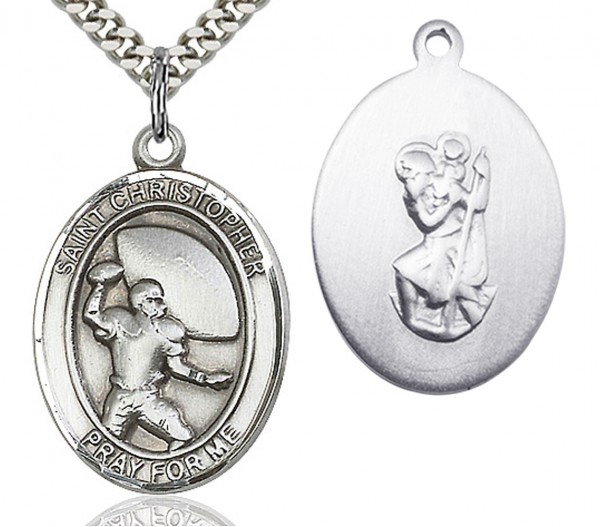 "St. Christopher Football Medal, Sterling Silver, Large - 24"" Sterling Silver Chain + Clasp"