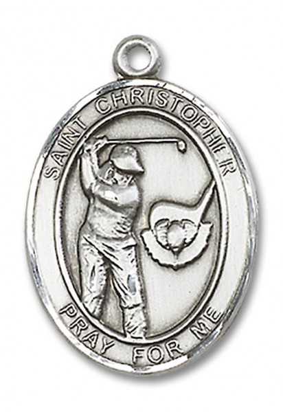 St. Christopher Golf Medal, Sterling Silver, Large - No Chain