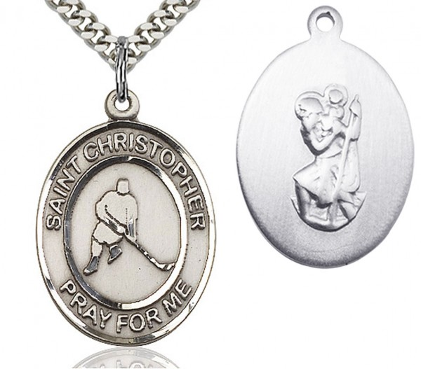 "St. Christopher Ice Hockey Medal, Sterling Silver, Large - 24"" Sterling Silver Chain + Clasp"