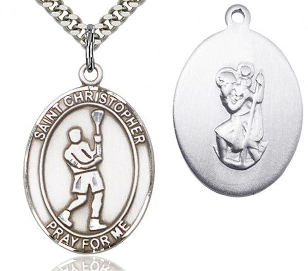 "St. Christopher Lacrosse Medal, Sterling Silver, Large - 24"" 2.4mm Rhodium Plate Endless Chain"