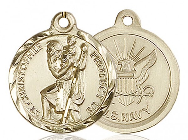 St. Christopher Navy Medal, Gold Filled - No Chain