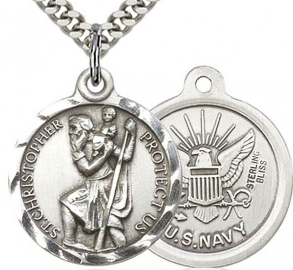 "St. Christopher Navy Medal, Sterling Silver - 24"" 2.4mm Rhodium Plate Chain + Clasp"