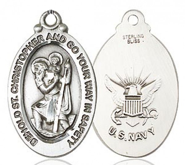 St. Christopher Navy Medal, Sterling Silver - No Chain