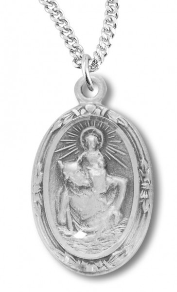 "Women's Sterling Silver Oval Saint Christopher Necklace with Chain Options - 20"" 2.25mm Rhodium Plated Chain with Clasp"