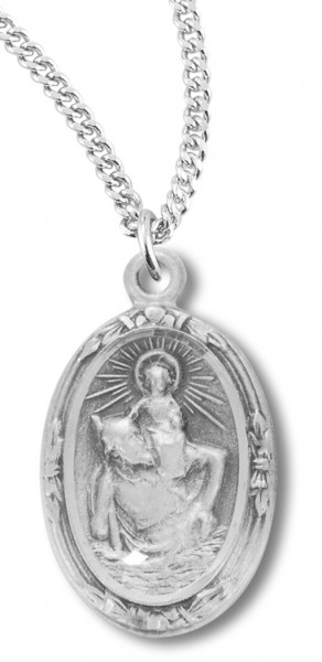 "Women's Sterling Silver Oval Saint Christopher Necklace with Chain Options - 18"" 2.1mm Rhodium Plate Chain + Clasp"
