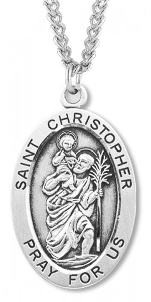 "Men's Saint Christopher Sterling Silver Oval Necklace with Chain Options - 24"" 2.4mm Rhodium Plate Endless Chain"