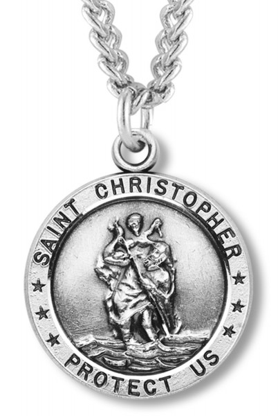 "St. Christopher Round Medal Sterling Silver - 24"" 2.4mm Rhodium Plate Endless Chain"