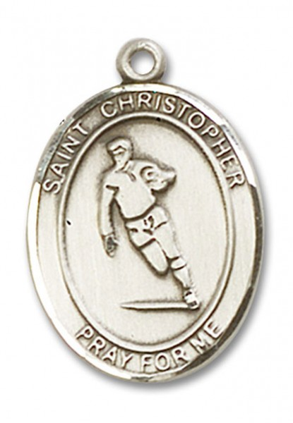 St. Christopher Rugby Medal, Sterling Silver, Large - No Chain
