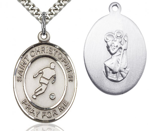 "St. Christopher Soccer Medal, Sterling Silver, Large - 24"" 2.4mm Rhodium Plate Chain + Clasp"