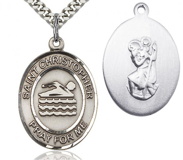 "St. Christopher Swimming Medal, Sterling Silver, Large - 24"" 2.4mm Rhodium Plate Endless Chain"