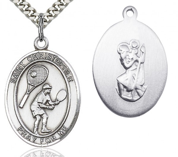 "St. Christopher Tennis Medal, Sterling Silver, Large - 24"" 2.4mm Rhodium Plate Chain + Clasp"