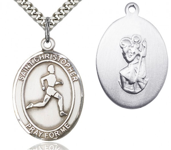 "St. Christopher Track and Field Medal, Sterling Silver, Large - 24"" 2.4mm Rhodium Plate Endless Chain"