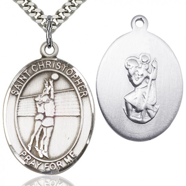 "St. Christopher Volleyball Medal, Sterling Silver, Large - 24"" Sterling Silver Chain + Clasp"
