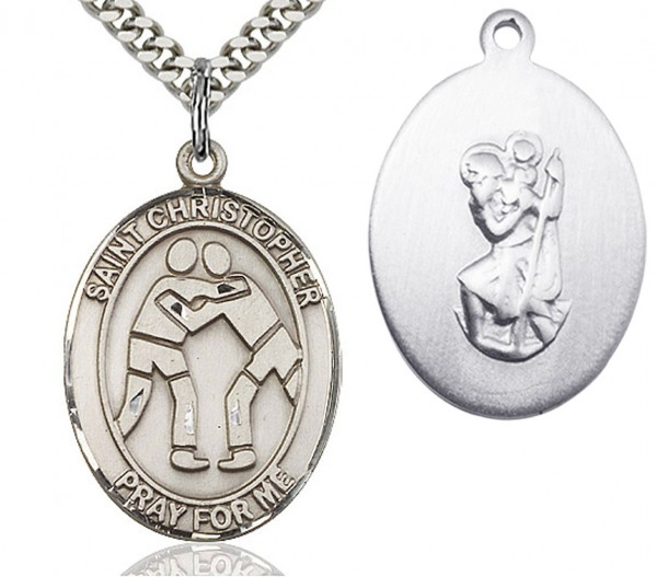 "St. Christopher Wrestling Medal, Sterling Silver, Large - 24"" 2.4mm Rhodium Plate Endless Chain"