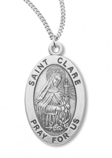 "Women's St. Clare Necklace Oval Sterling Silver with Chain Options - 20"" 2.25mm Rhodium Plated Chain with Clasp"