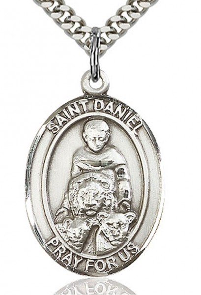 "St. Daniel Medal, Sterling Silver, Large - 24"" 1.7mm Sterling Silver Chain & Clasp"