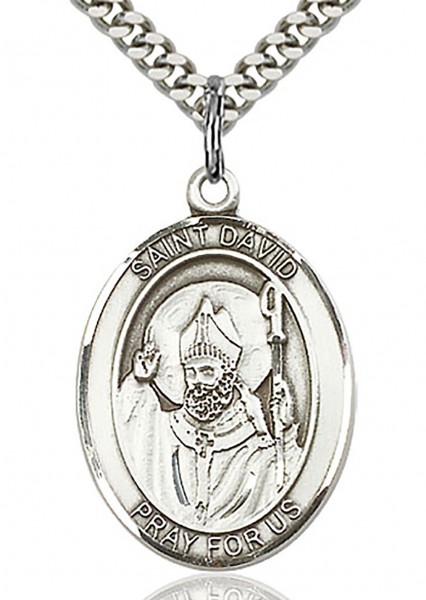 "St. David of Wales Medal, Sterling Silver, Large - 24"" 2.4mm Rhodium Plate Chain + Clasp"