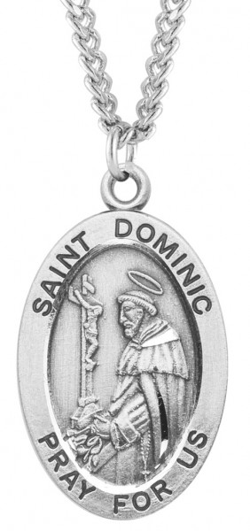 "Men's Saint Dominic Sterling Silver Oval Necklace with Chain Options - 24"" 2.4mm Rhodium Plate Chain + Clasp"