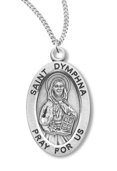 "Women's St. Dymphna Necklace Oval Sterling Silver with Chain Options - 18"" 1.8mm Sterling Silver Chain + Clasp"