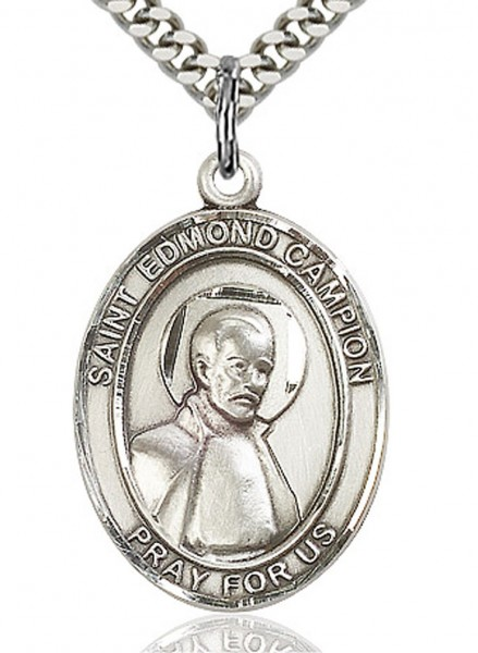 "St. Edmund Campion Medal, Sterling Silver, Large - 24"" 2.4mm Rhodium Plate Chain + Clasp"