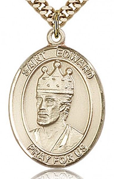 "St. Edward the Confessor Medal, Gold Filled, Large - 24"" 2.4mm Gold Plated Endless Chain"