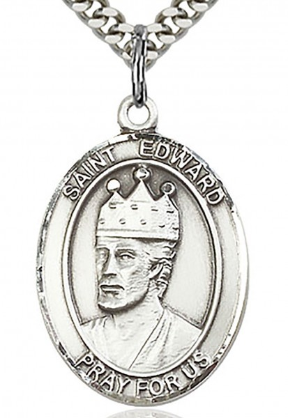 "St. Edward the Confessor Medal, Sterling Silver, Large - 24"" 1.7mm Sterling Silver Chain & Clasp"
