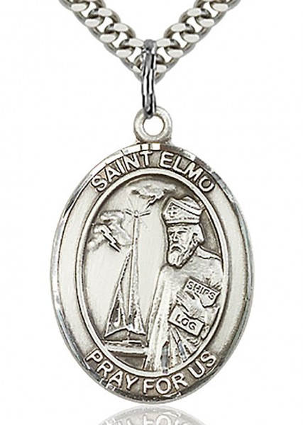 "St. Elmo Medal, Sterling Silver, Large - 24"" 2.4mm Rhodium Plate Endless Chain"