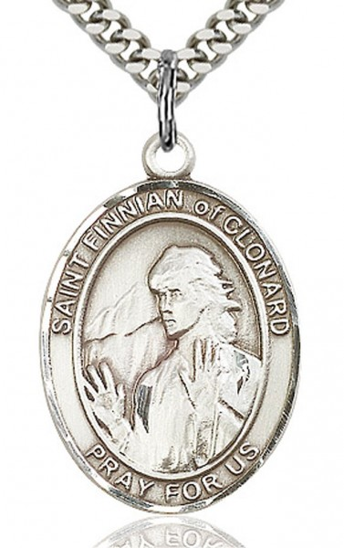 "St. Finnian of Clonard Medal, Sterling Silver, Large - 24"" 2.4mm Rhodium Plate Endless Chain"