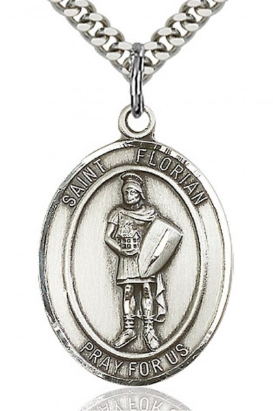"St. Florian Medal, Sterling Silver, Large - 24"" 2.2mm Sterling Silver Chain + Clasp"