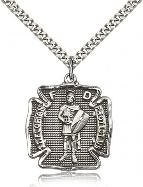 "St. Florian Medal, Sterling Silver - 24"" 2.4mm Rhodium Plate Chain + Clasp"