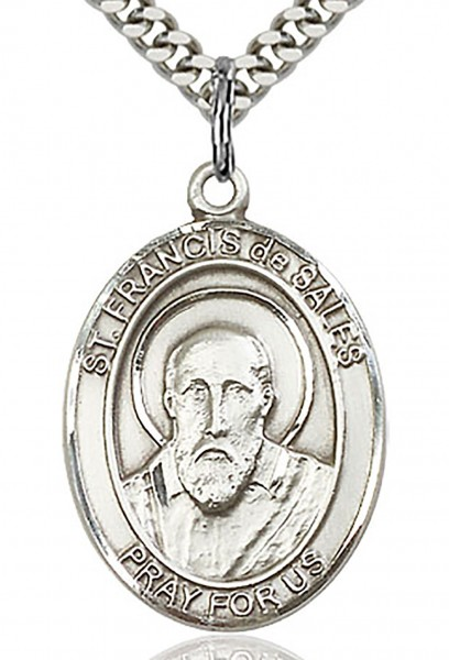 "St. Francis De Sales Medal, Sterling Silver, Large - 24"" 2.2mm Sterling Silver Chain + Clasp"